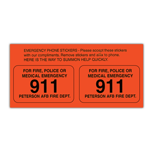 Custom 2 Up Telephone Emergency Stickers