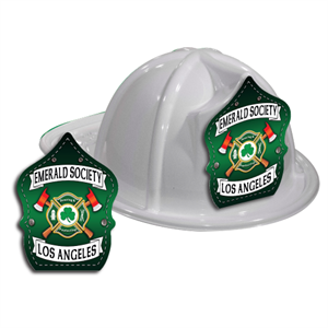 Custom Fire Hat - White - St. Patty's Shield