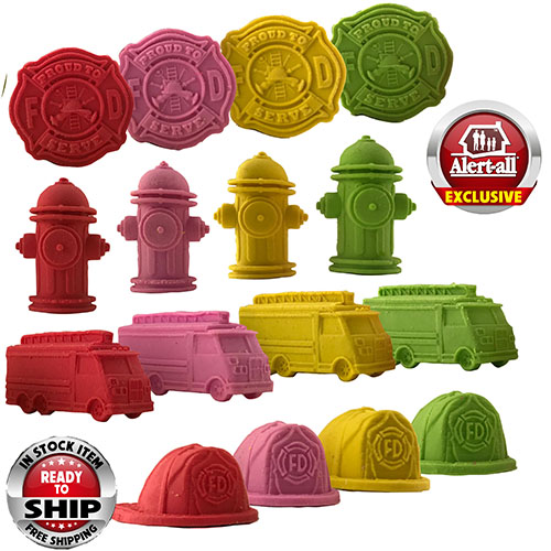 Exclusive Assorted Pencil Top Fire Safety Erasers