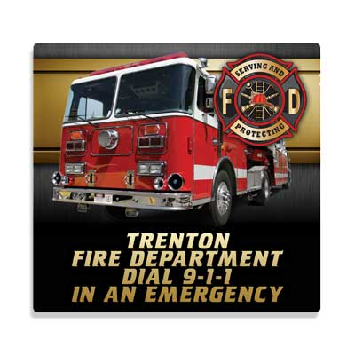 Imprinted 8 Square Fabric Mouse Pad-Fire Truck