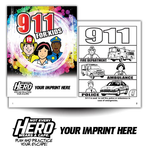 Imprinted 911 Coloring Book w/ Theme logo