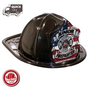 Stock Black Jr Firefighter Hat-Americana Shield