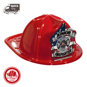 Stock Red Jr Firefighter Hat-Americana Shield