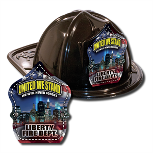 IMPRINTED FIRE HATS-BLACK- 9/11 SKYLINE SHIELD