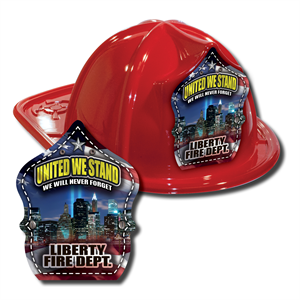 IMPRINTED FIRE HATS-RED- 9/11 SKYLINE SHIELD