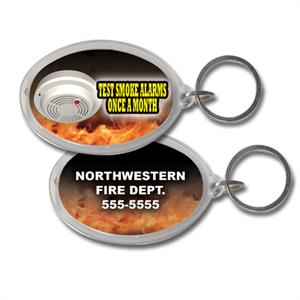 Custom Acrylic Oval Key Ring- Smoke Alarms