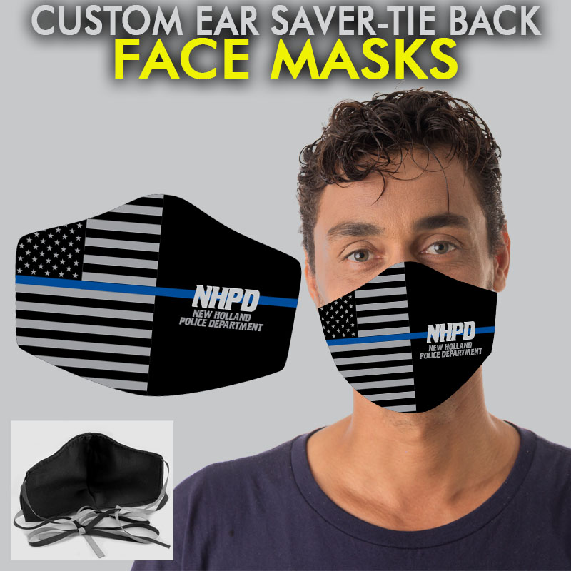 Custom 12 Pack Ear Saver Face Masks - Flag Thin Bl