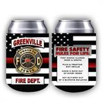 Custom 12 oz Full Color Shield Red Line Can Hugger