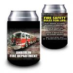 Custom 12oz Can Hugger Rustic Flag w/ Fire Truck