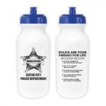 Custom 20 oz. Bike Bottle - White w/ Blue Lid
