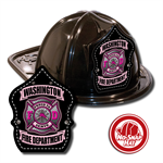 Custom Black Fire Hat w/ Pink Maltese Cross