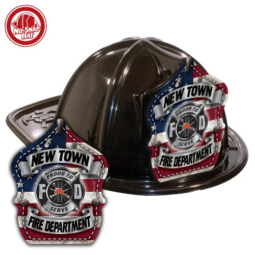 Custom Black Fire Hat with Americana Shield