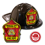 Custom Black Fire Hats with Red Parade Shield