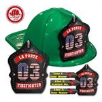 Custom Black Leather W/ Flag Numbers on Green Hat