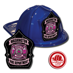 Custom Blue Fire Hats w/ Pink Maltese Cross