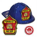 Custom Blue Fire Hats with Red Parade Shield