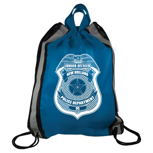 Custom Blue Police Reflective Drawstring Backpack