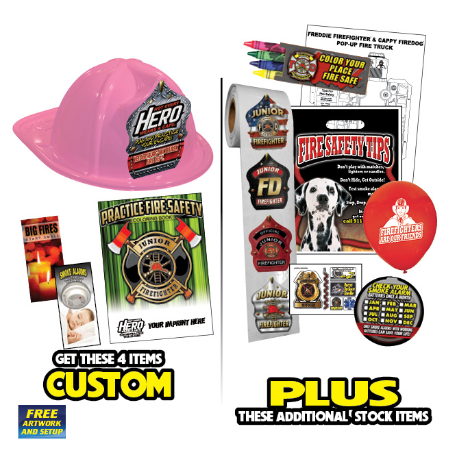 Custom Fire Hat Deluxe Pack w/Pink Fire Hats-2019