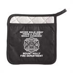Custom Fire Safety Pot Holder w/ Pocket - Black