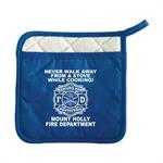 Custom Fire Safety Pot Holder w/ Pocket - Blue