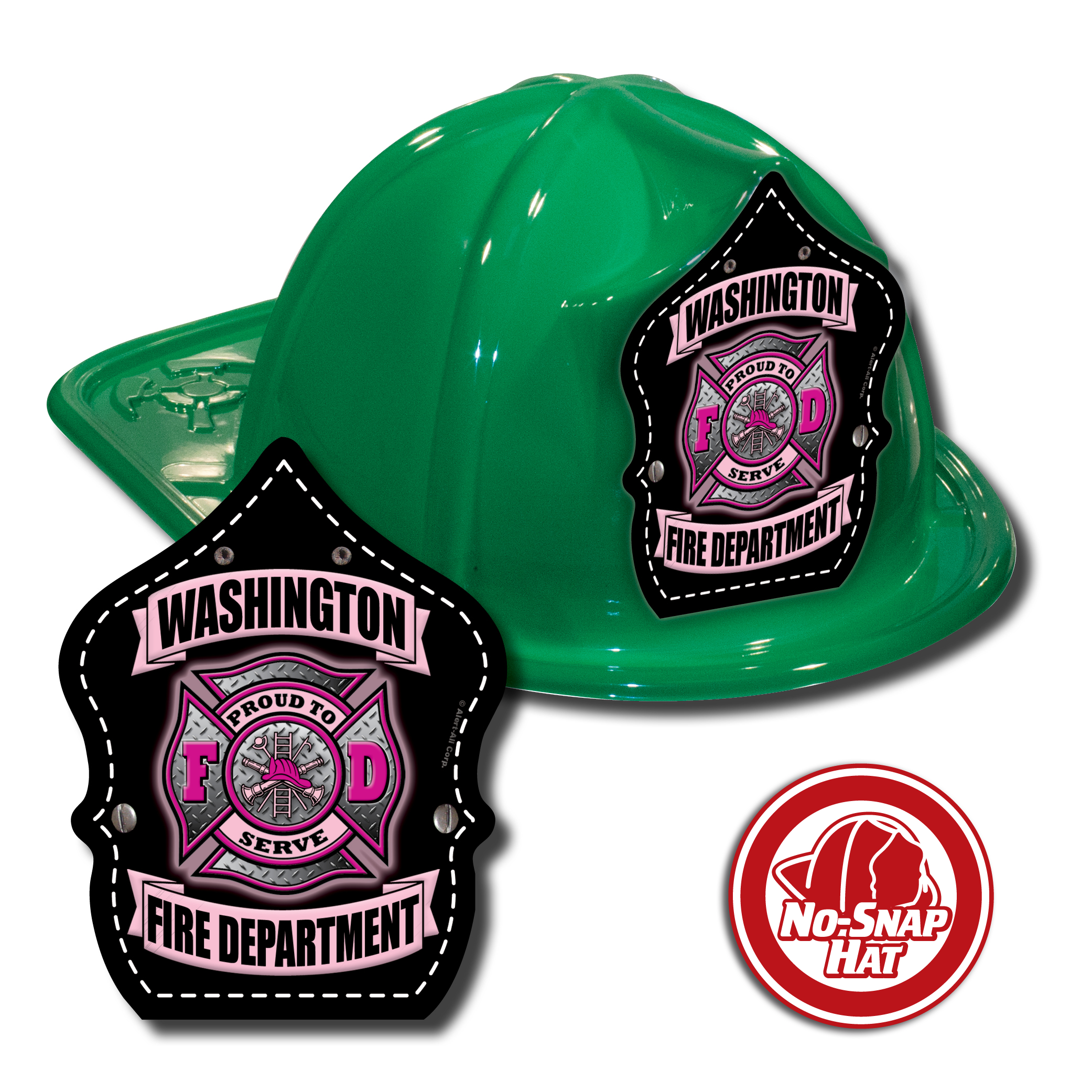 Custom Green FIre Hats w/ Pink Maltese Cross