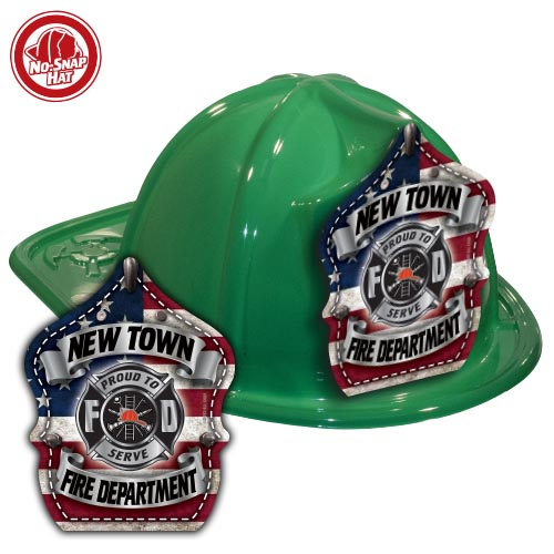 Custom Green Fire Hats with Americana Shield