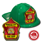 Custom Green Fire Hats with Red Parade Shield