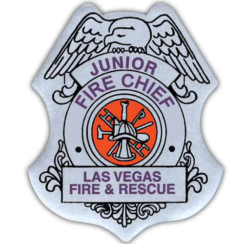 Custom Jr. Fire Chief Stick-On Badge in Silver