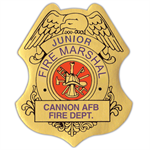 Custom Jr. Fire Marshal Stick-On Badge in Gold
