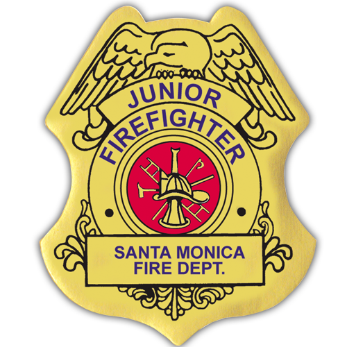 Custom Jr. Firefighter Stick-On Badge in Gold
