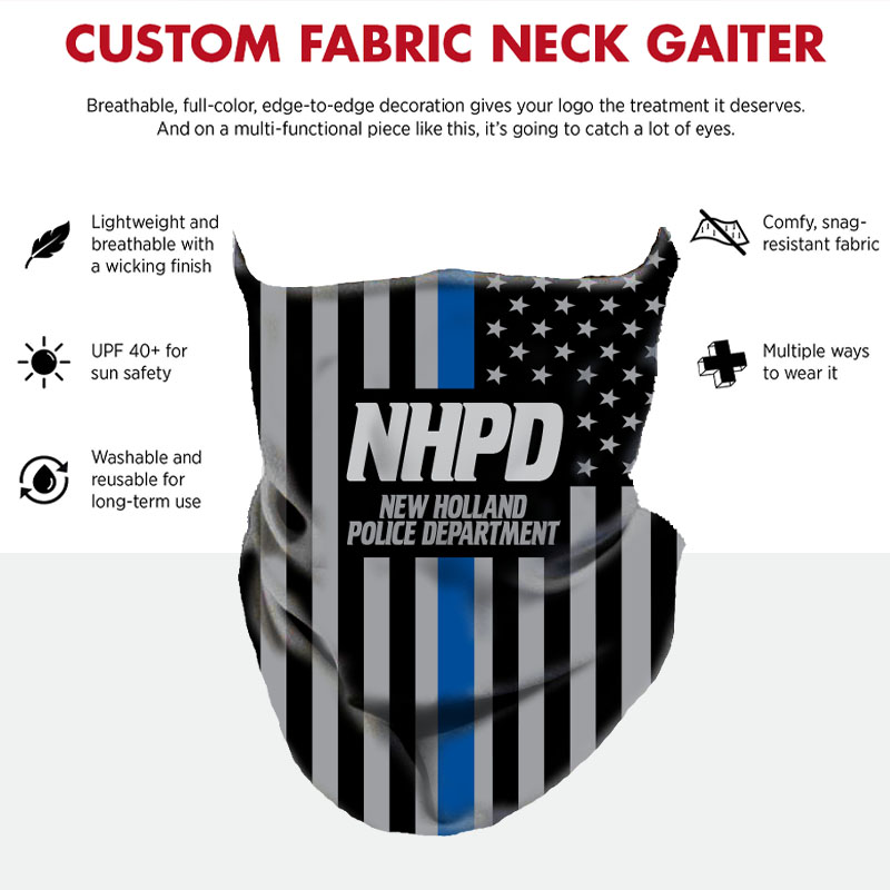 Custom Neck Gaiter - Flag Thin Blue Line