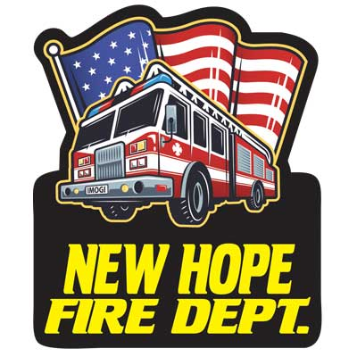 Custom Outdoor Vinyl Sticker - Fire Truck w/ Flag