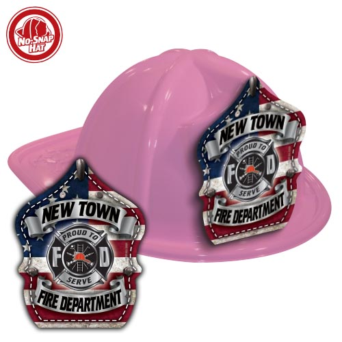 Custom Pink Fire Hats with Americana Shield