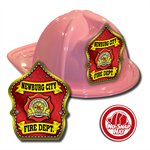 Custom Pink Fire Hats with Red Parade Shield