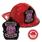 Custom Red Fire Hat w/ Pink Maltese Cross