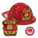Custom Red Fire Hat with Parade Shield