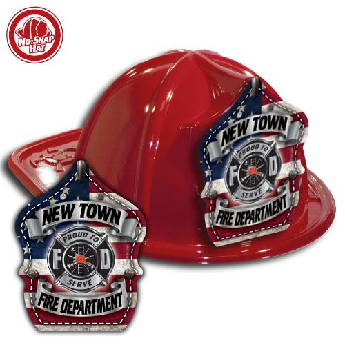 Custom Red Fire hat w/ Americana Shield