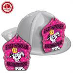 Custom White Fire Hat with Cali Fire Pup Shield
