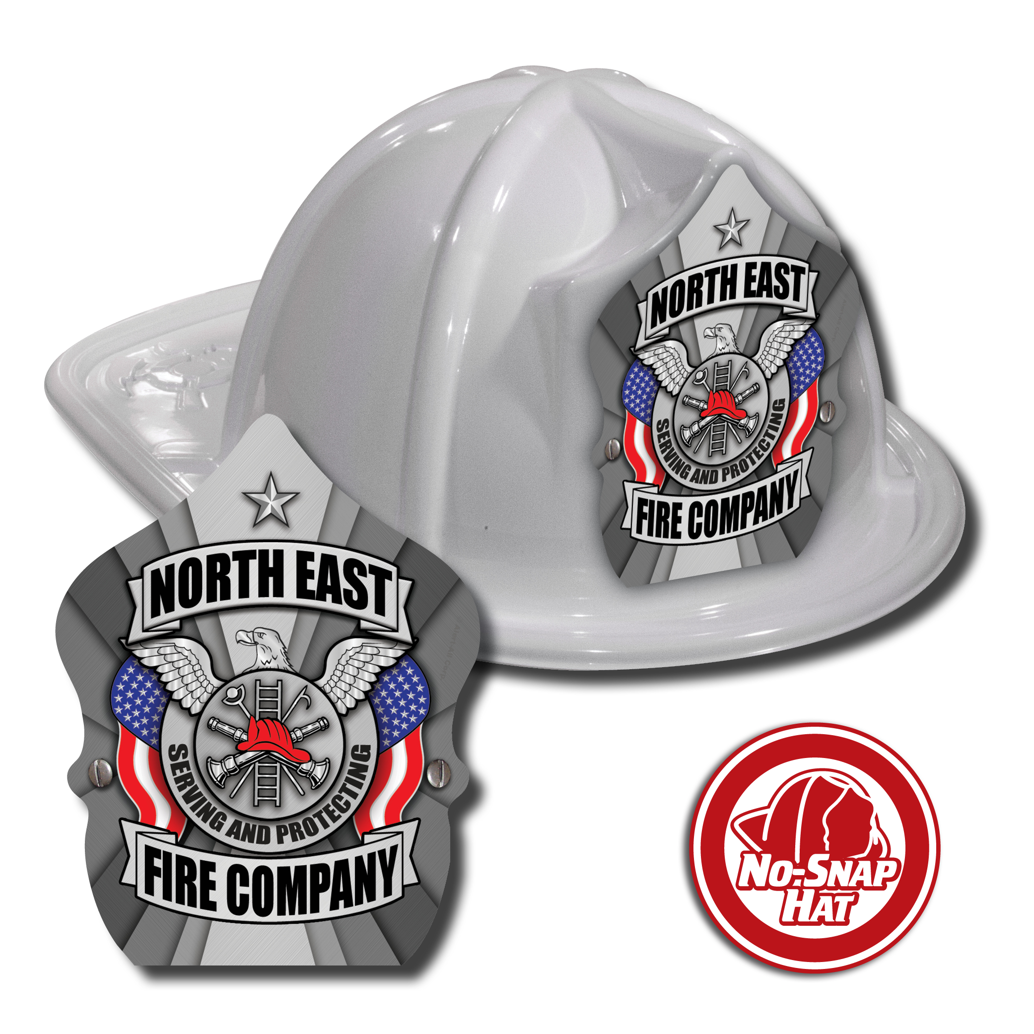 Custom White Fire Hat with Silver Eagle Shield