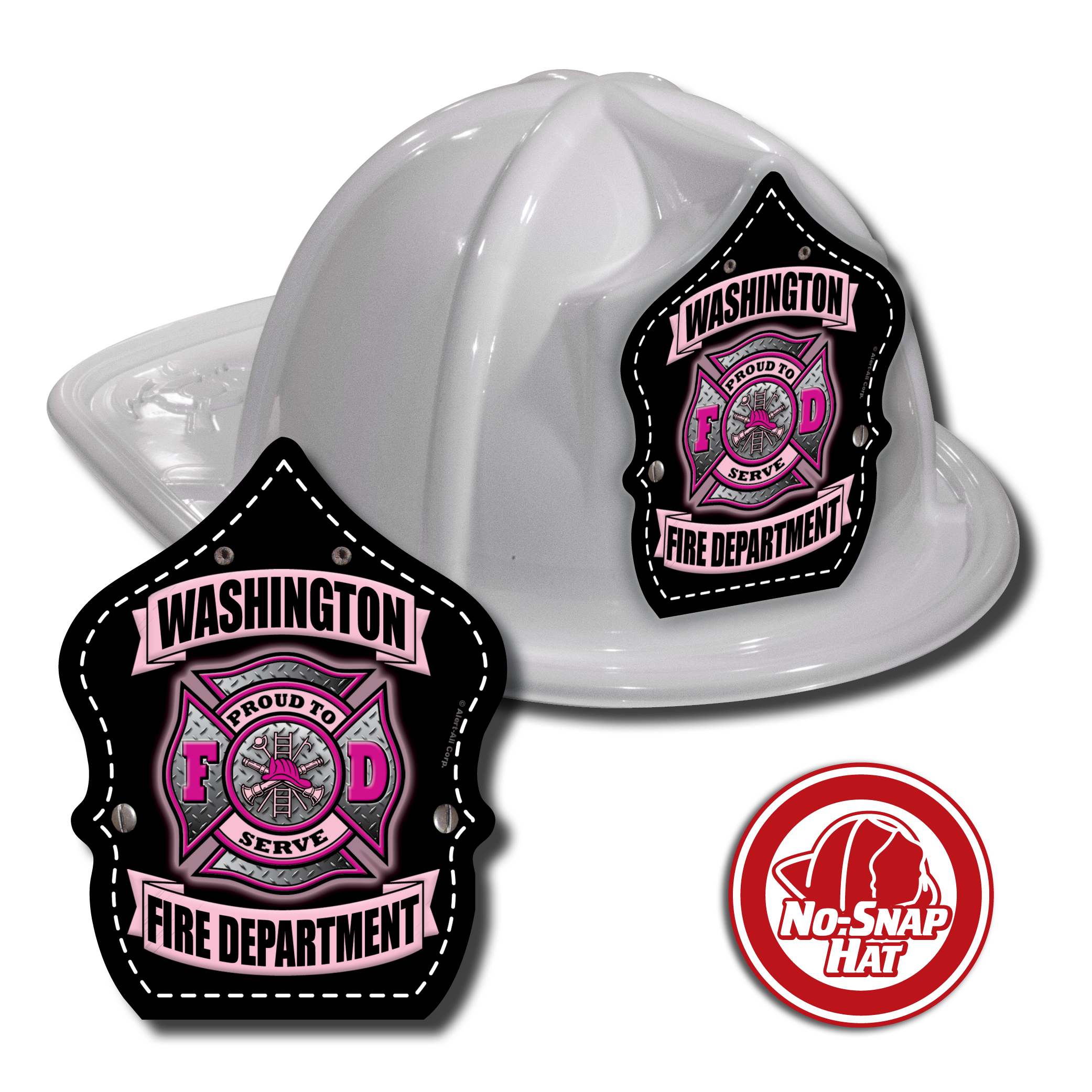 Custom White Fire Hats w/ Maltese Cross Shield