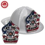 Custom White Fire Hats with Americana Shield