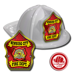 Custom White Fire Hats with Red Parade Shield