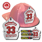 Custom White Leather Design in Pink Fire Hat