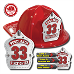 Custom White Leather Design in Red Fire Hat