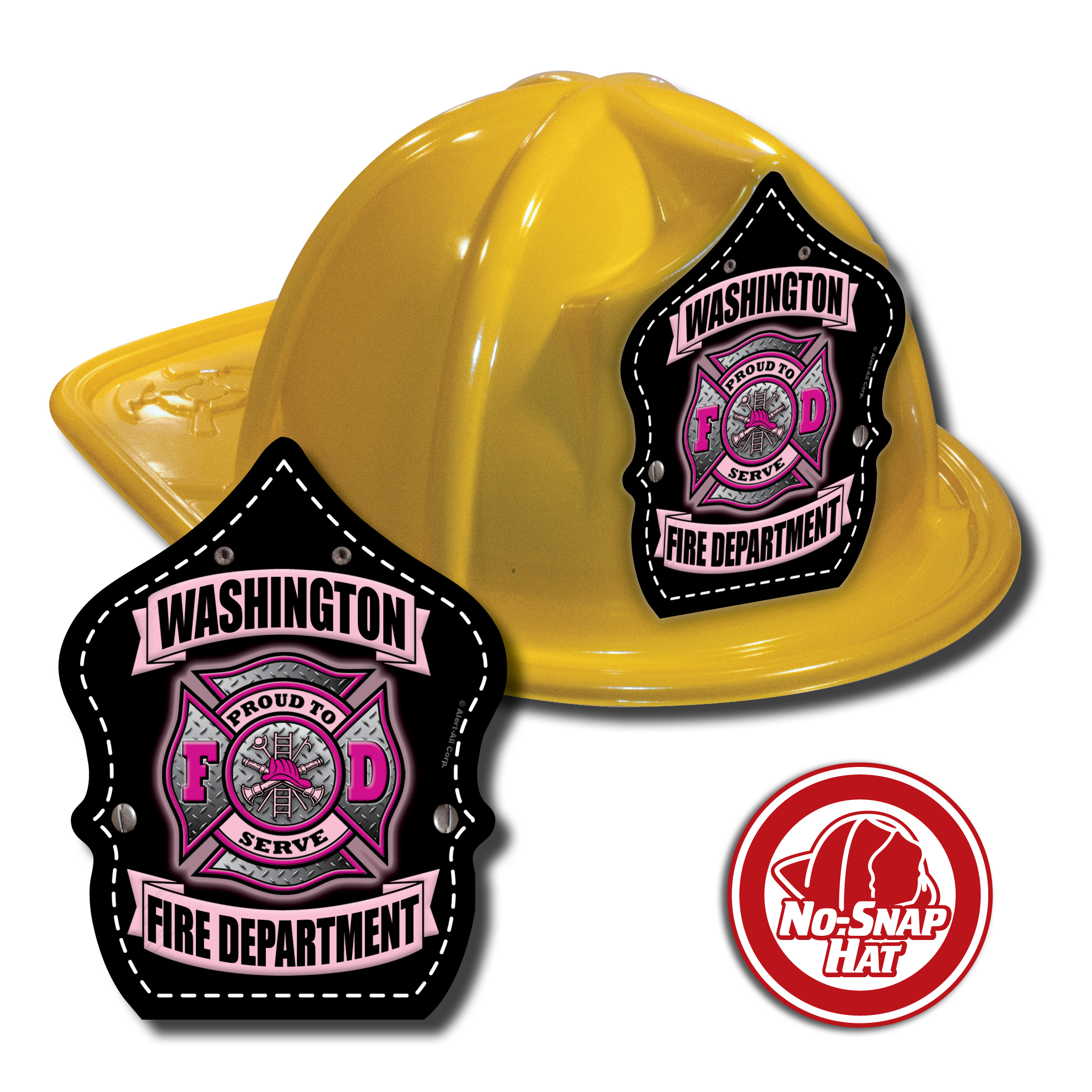 Custom Yellow Fire Hats with Pink Maltese Cross