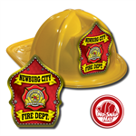 Custom Yellow Fire Hats with Red Parade Shield