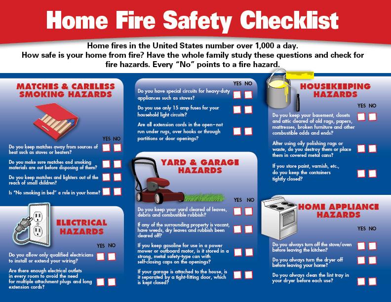 home fire safety checklist pdf