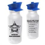 IMP. 20 oz  WHITE BIKE BOTTLE W/ POLICE HAT LID