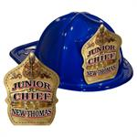 IMPRINTED FIRE HATS - BLUE  -GOLD JR. CHIEF SHIELD