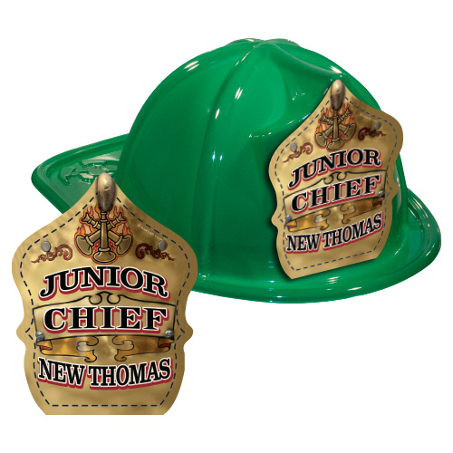 IMPRINTED FIRE HATS - GREEN -GOLD JR. CHIEF SHIELD